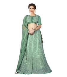 Buy Green Color Net Wedding Wear Semi Stitched Lehenga Choli With Blouse lehenga-choli online