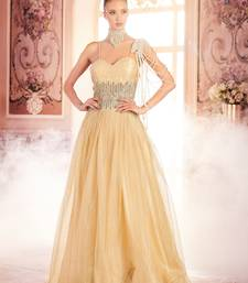 Buy Khwaab Cream and Gold Criss-Cross Backless Evening Partywear Embroidered Stitched Gown party-wear-gown online