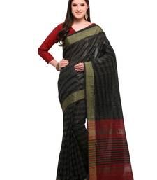 Buy Inddus black cotton blend foil print saree with blouse cotton-saree online