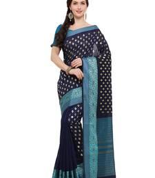 Buy Inddus navy blue chanderi cotton foil print saree with blouse cotton-saree online