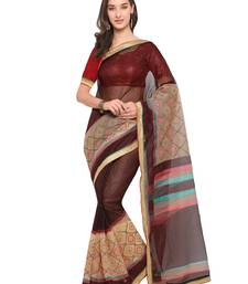 Buy Inddus brown kota doria cotton embroidered saree with blouse cotton-saree online