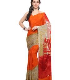 Buy Inddus orange crepe printed saree with blouse crepe-saree online
