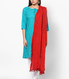 Buy Red Cotton Solid Dupatta with Pom Pom Border stole-and-dupatta online