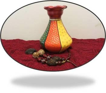 Multi colored red neck pot
