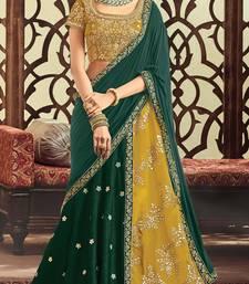 Buy Green colored embroidered designer raw silk  taffeta silk lahenga choli lehenga-choli online