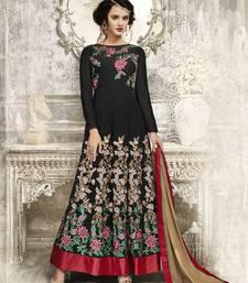 Buy Black embroidered georgette anarkali salwar anarkali-salwar-kameez online