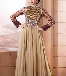 Buy Cream embroidered georgette semi-stitched salwar with dupatta wedding-salwar-kameez online