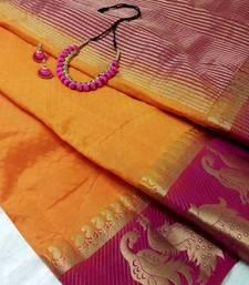 Buy Orange semi tussar silk double peacock zari border saree with unstitched  blouse tussar-silk-saree online