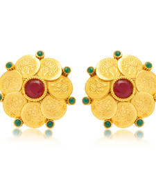 Buy Gorgeous Gold Plated Temple Jewellery Coin Earring for Women danglers-drop online