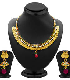 Buy Classy Gold Plated  Temple Jewellery Coin Necklace Set for Women necklace-set online