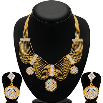 Splendid Gold Plated  Ball Chain AD Necklace Set for Women