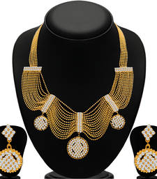 Buy Splendid Gold Plated  Ball Chain AD Necklace Set for Women necklace-set online