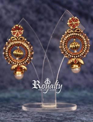 Gold Plated Dangle Polki Jhumki Hoop Earrings studded with Pearls