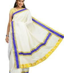 Buy Fashionkiosks cotton cream weaved kerala kasavu saree with Lace work and Gold blouse kerala-saree online