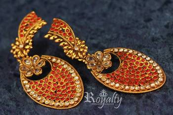 Royalty Colored Crystals, Kundan embedded Golden Earrings