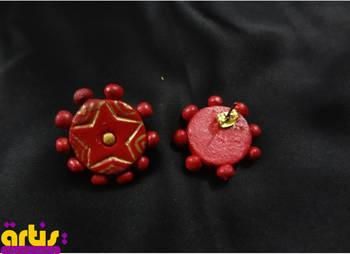 Round Studs with Terracotta Beads