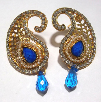 Blue Kundan Drop Mango Polki Earring
