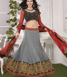 Buy Grey Lehenga With Red Dupatta lehenga-choli online