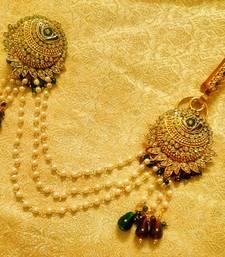 Buy Maroon Green Bridal Saree Pin Brooch Juda Wedding Jewelry diwali-jewellery online