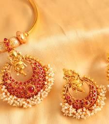 Buy BEAUTIFUL GANESH PEARL CLUSTER KEMP NECKLACE SET-DJ00265 necklace-set online