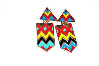 Colourful chevron stripes earrings