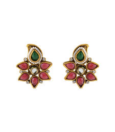 Buy Classy Bridal Maroon Green Earrings with Tiny Pearls fashion-deal online