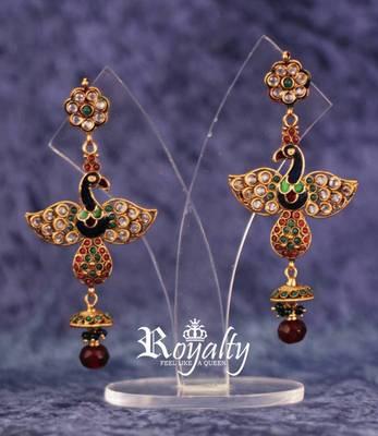 Royalty Peacock Royal Earrings for Princess