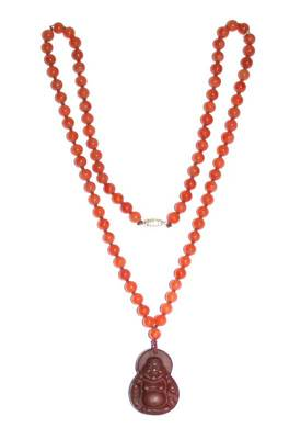 Genuine Red Aventurine Laughing Buddha Pendant Necklace
