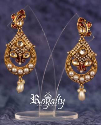 Royal Golden Pearls Kundan Earrings