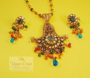 Handcrafted Polki Meena Pendant Earring Chain Set