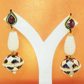 Meenakari Ball Earring Maroon White