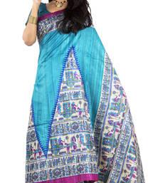 Buy Blue Printed silk saree with blouse silk-saree online