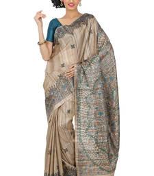 Buy Beige Printed silk saree with blouse silk-saree online