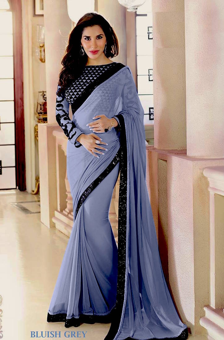 Buy Bluish Grey Plain Georgette Designer Saree With Blouse