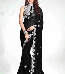 Buy Black embroidered georgette saree with blouse traditional-saree online