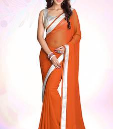 Buy Orange plain georgette saree with blouse party-wear-saree online