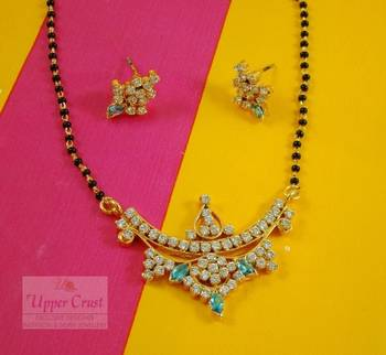 American Diamond Gold Plated Beaded Mangalsutra