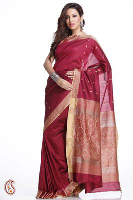 Thread work Border, Pallu Burgundy Red Art Silk Saree