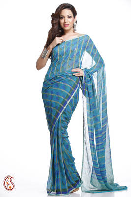 Pure Chiffon Saree in Steel Blue with Zari Stripes