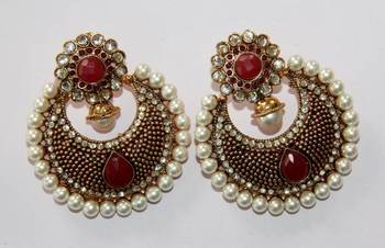 BEAUTIFUL ANTIQUE FINISH HANGINGS WITH RED N WHITE PEARLS
