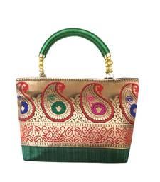 Buy Raw Silk Handbag with Traditional Mango Border (Green) handbag online