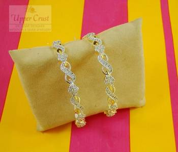 CZ Flower Design Diamond Bangles Size - 2.6