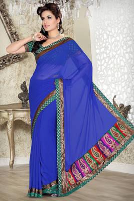 Blue Faux chiffon saree with blouse