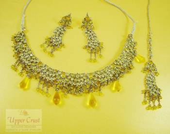 Yellow Polki Rhodium Plated Necklace Maang Tikka Jewellery