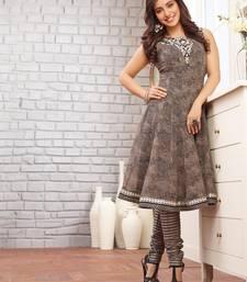 Buy Grey embroidered Georgette semi-stitched salwar with dupatta eid-special-salwar-kameez online