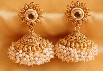 Buy Precious Antique Pearl Cluster Amethyst Huge Jhumkas