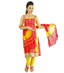 Buy Red Kundan Work cotton unstitched salwar with dupatta dress-material online