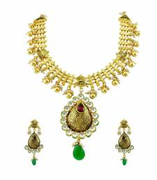 Buy Red Jadau Kundan Necklace Set Jewellery for Women - Orniza necklace-set online
