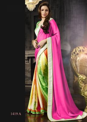 Pink , Green , Yellow , Orange , White printed crepe saree with blouse