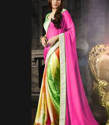 Buy Pink , Green , Yellow , Orange , White printed crepe saree with blouse other-actress-saree online